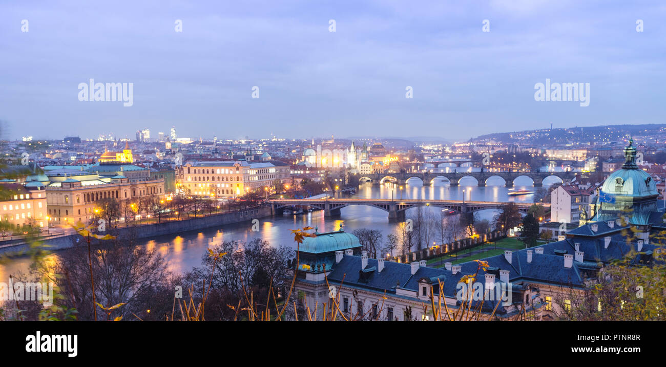 Bridges over the Vltava river, as seen from Letná at dusk. Prague, Czech Republic Stock Photo