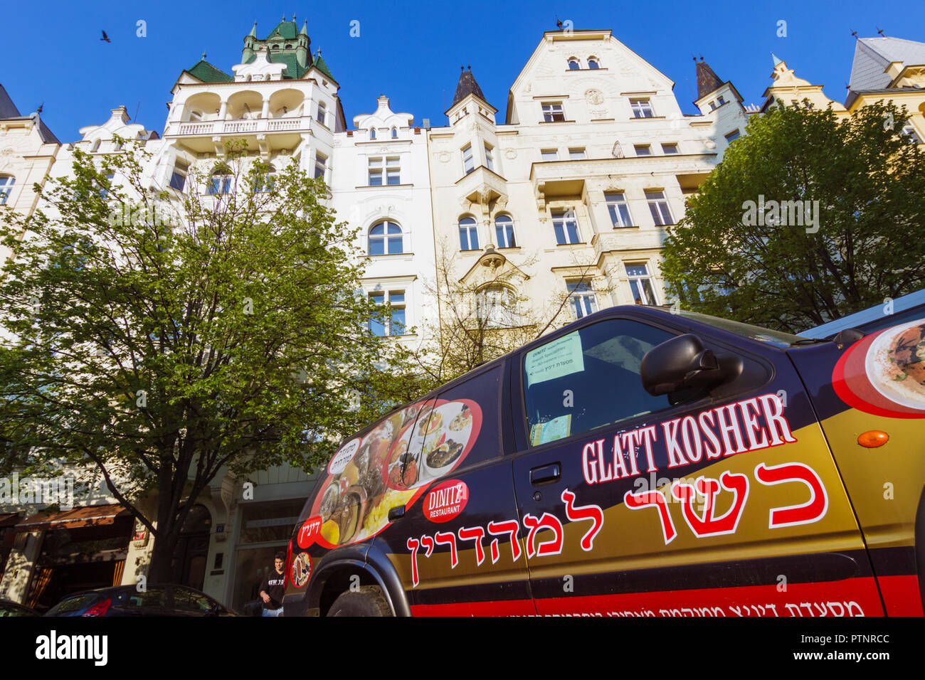 Prague, Czech Republic : A kosher food delivery car is parked by the townhouses of Josefov, the former Jewish Quarter of Prague. - Stock Image
