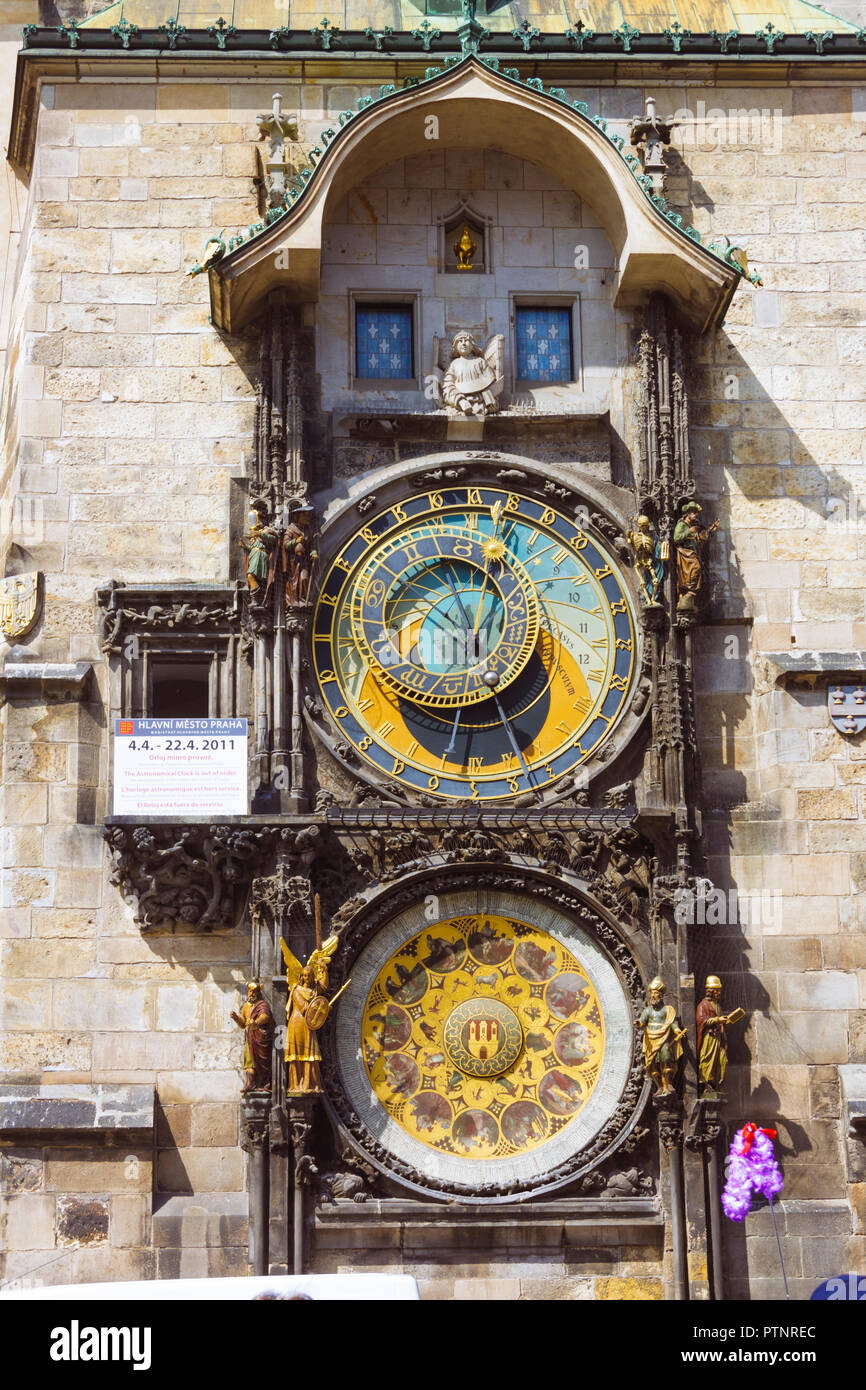 Prague, Bohemia, Czech Republic : Medieval astronomical clock, or Prague orloj on the Old Town Hall in the Old Town Square. - Stock Image