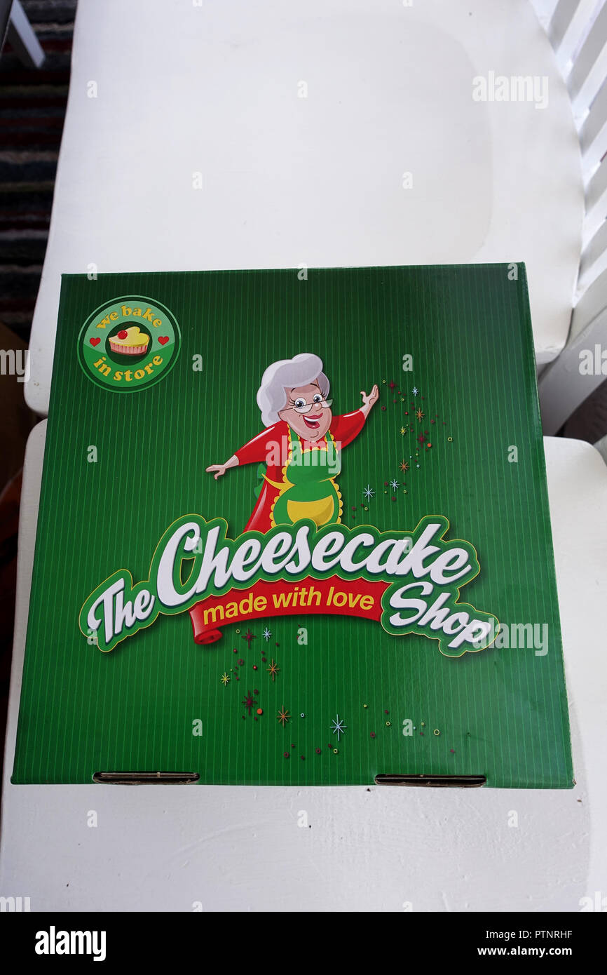 A box of Australian Cheescake shop - Stock Image