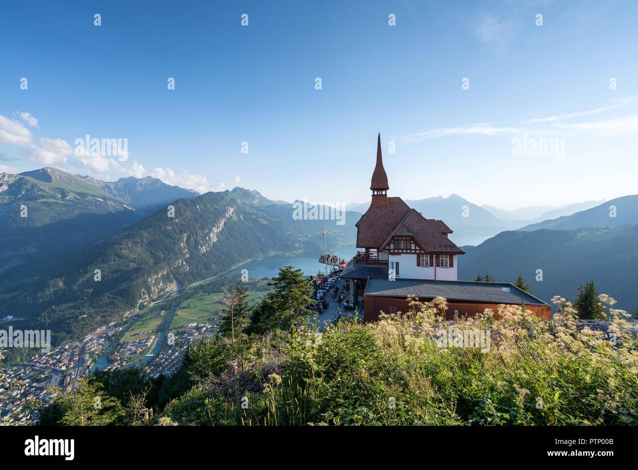 Harder Kulm viewpoint and reastaurant above Interlaken, Switzerland, Europe - Stock Image
