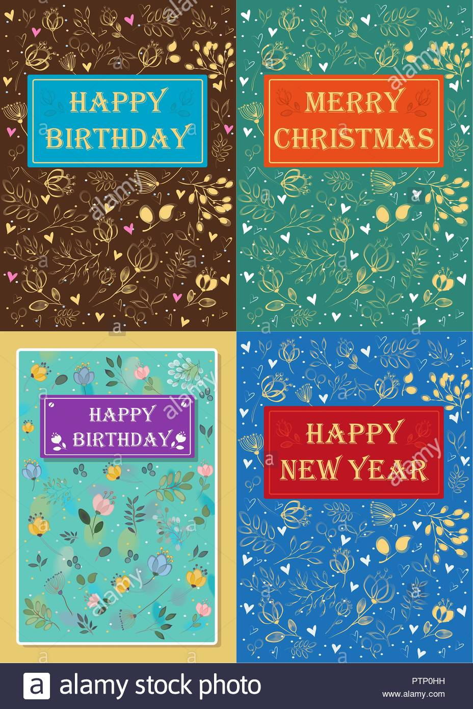 Set Of Floral Greeting Cards Happy Birthday New Year Merry