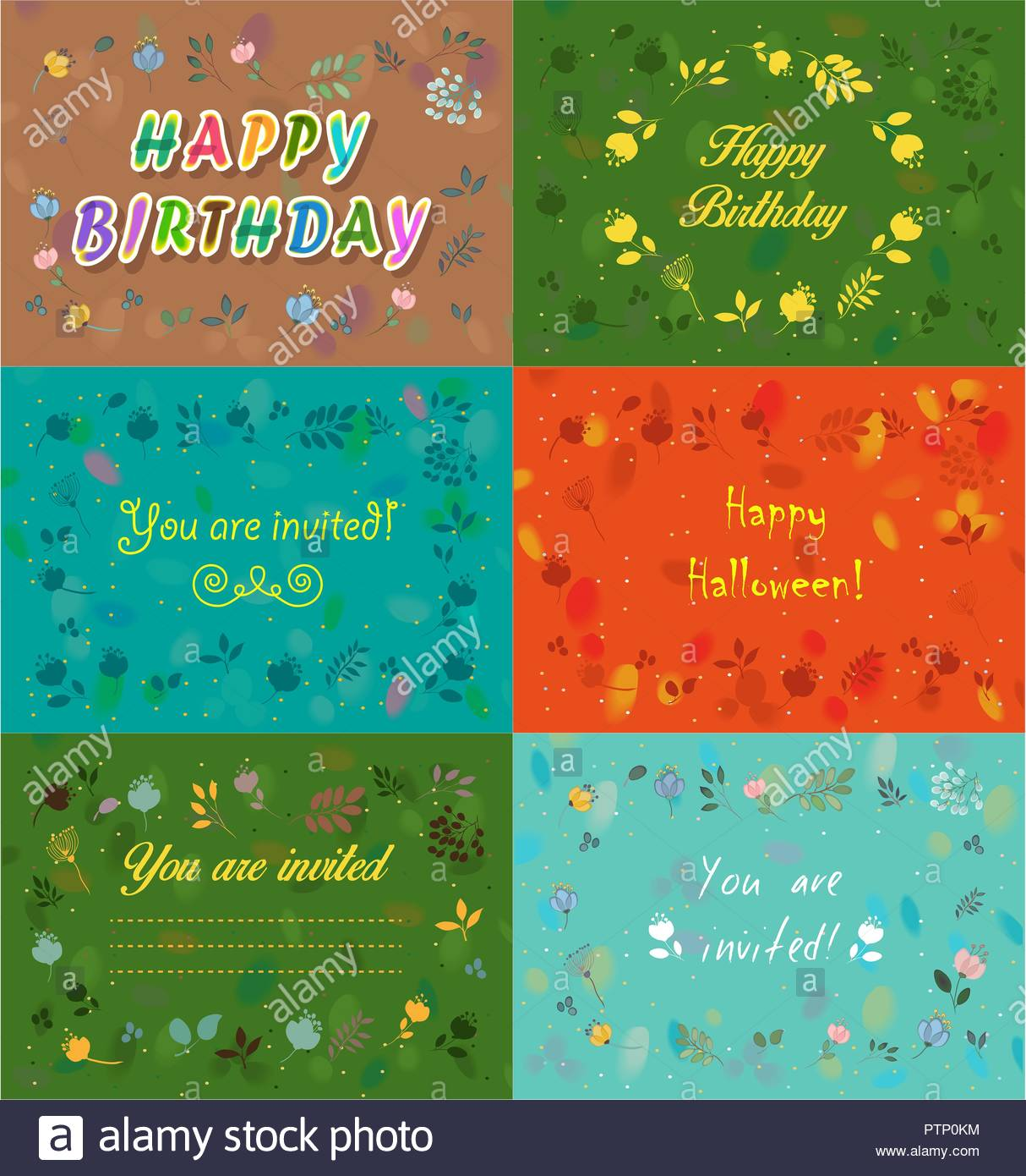 set of floral festive cards and invitations you are invited happy
