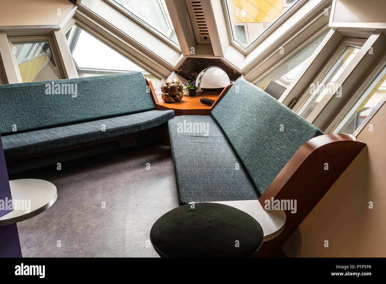 Rotterdam, Netherlands - May 22, 2018: Living room in The Kijk-Kubus (Show-Cube) - a furnished museum house, designed and constructed for the visitors - Stock Image