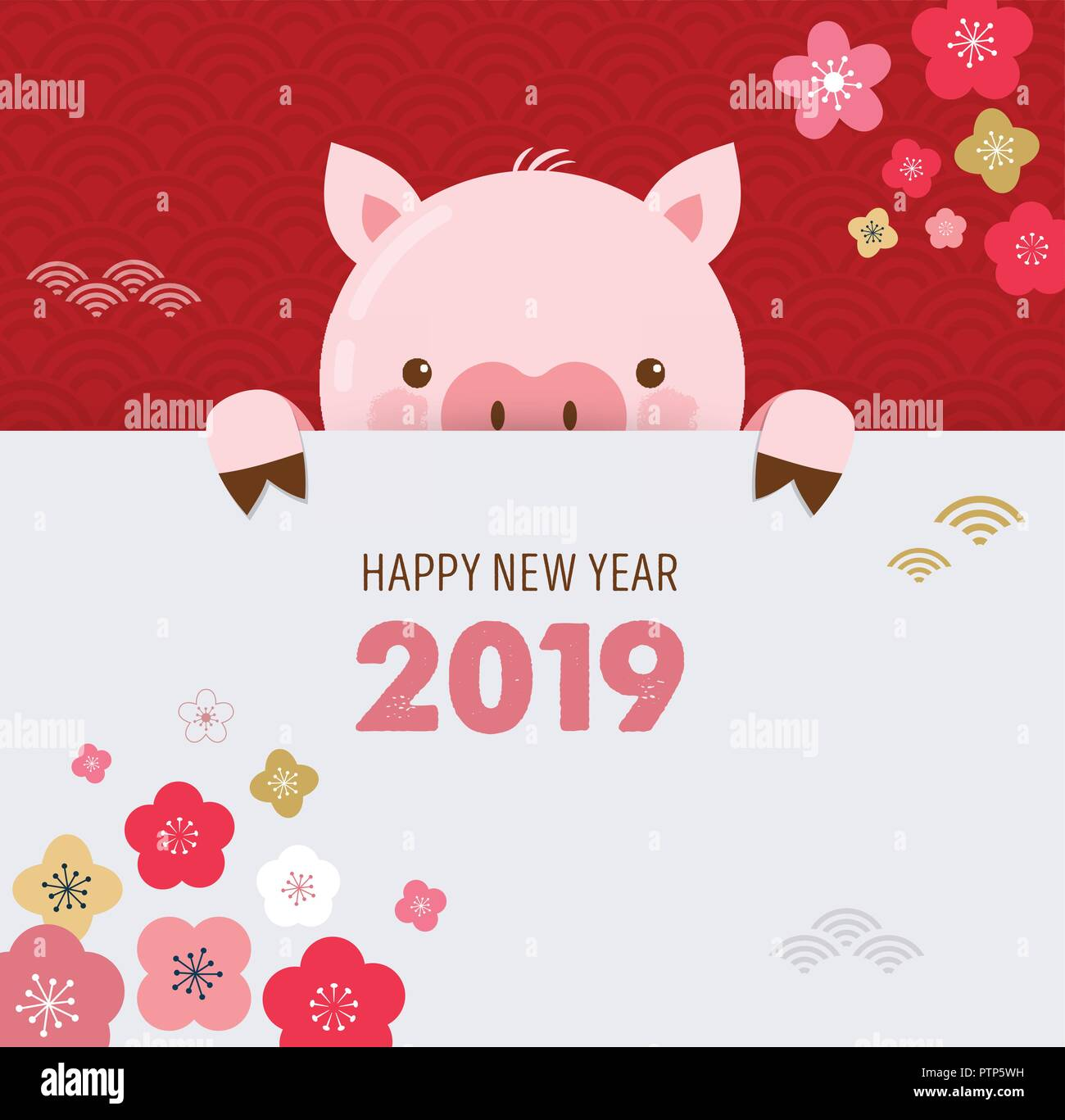 happy chinese new year 2019 the year of pig vector banner background