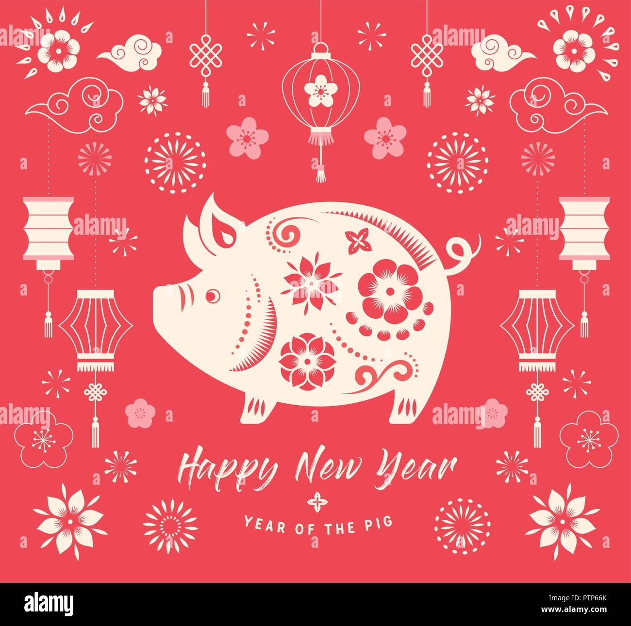 Happy Chinese New Year 2019 The Year Of Pig Vector Banner