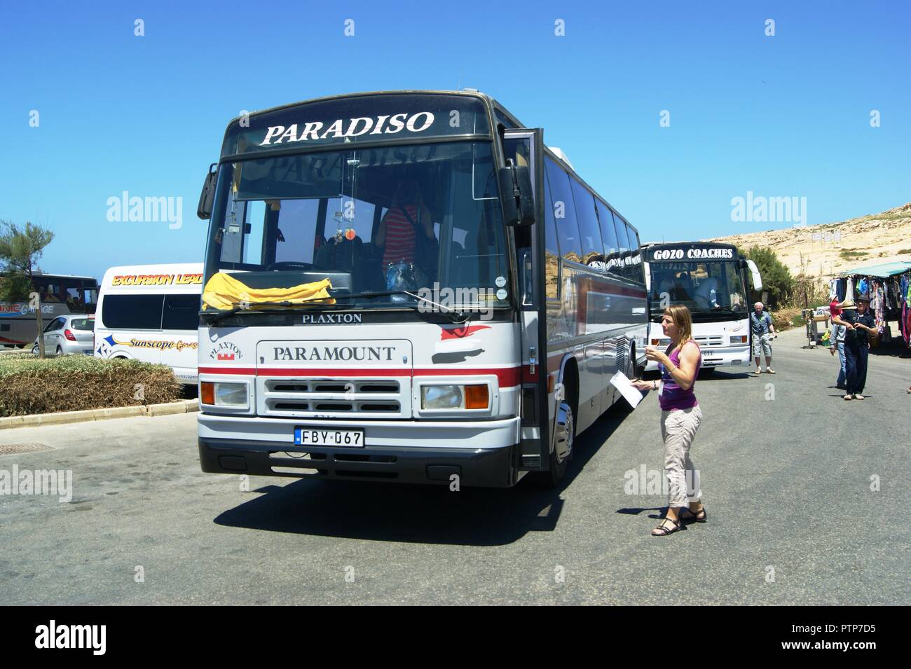 Bedford Plaxton Paramount Coach,of Paradiso on Gozo Malta - Stock Image