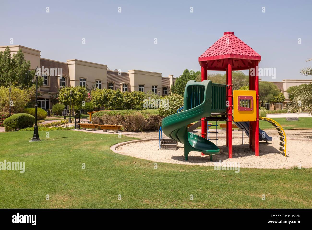 Public park in the Mirdiff district of Dubai - Stock Image