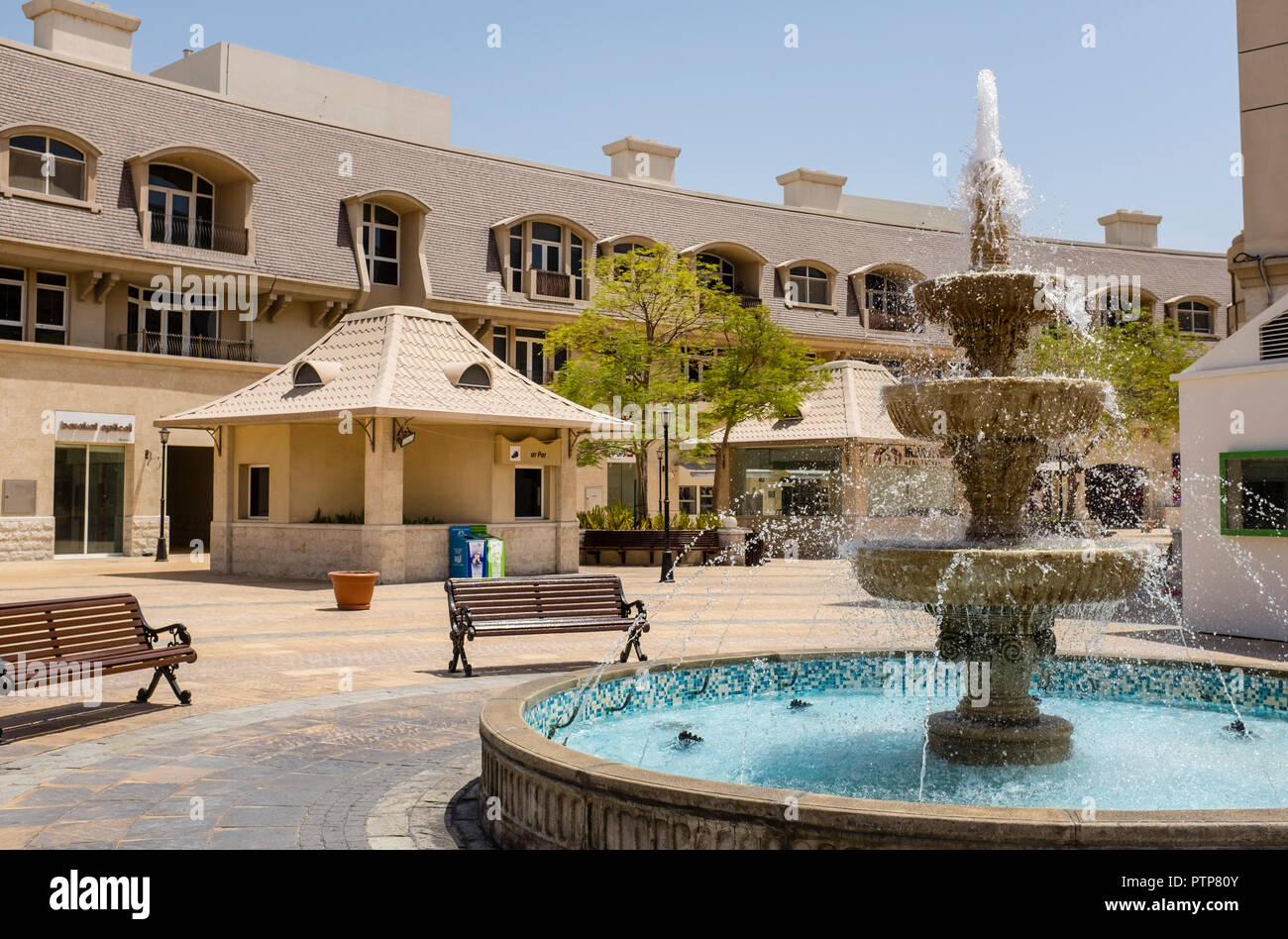 Uptown Mirdiff Mall, in the Mirdiff district of Dubai. The mall provides shops and cafes for the nearby residential estates - Stock Image