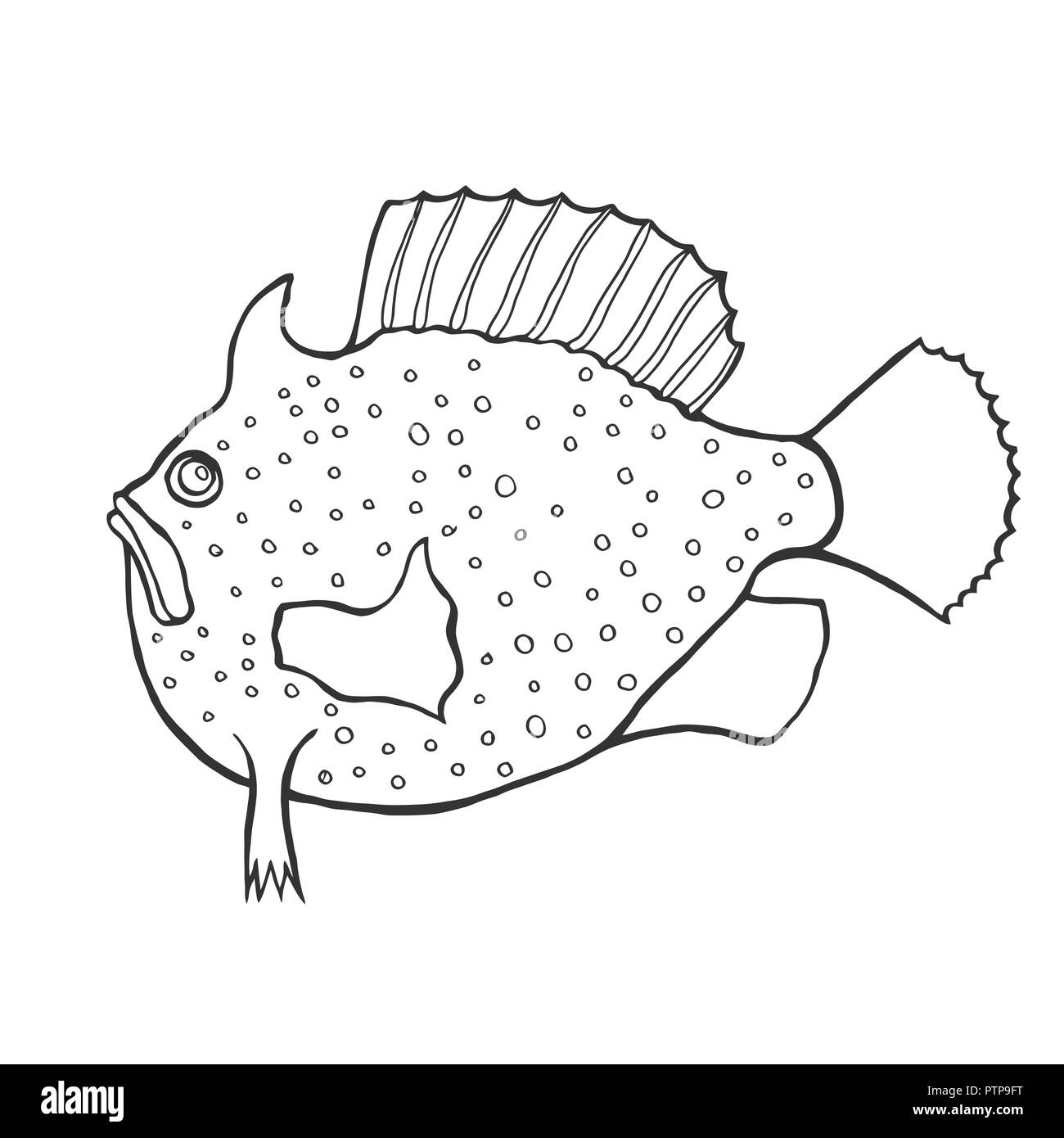 Funny fish sketch style. Coloring book for adult and kids ...