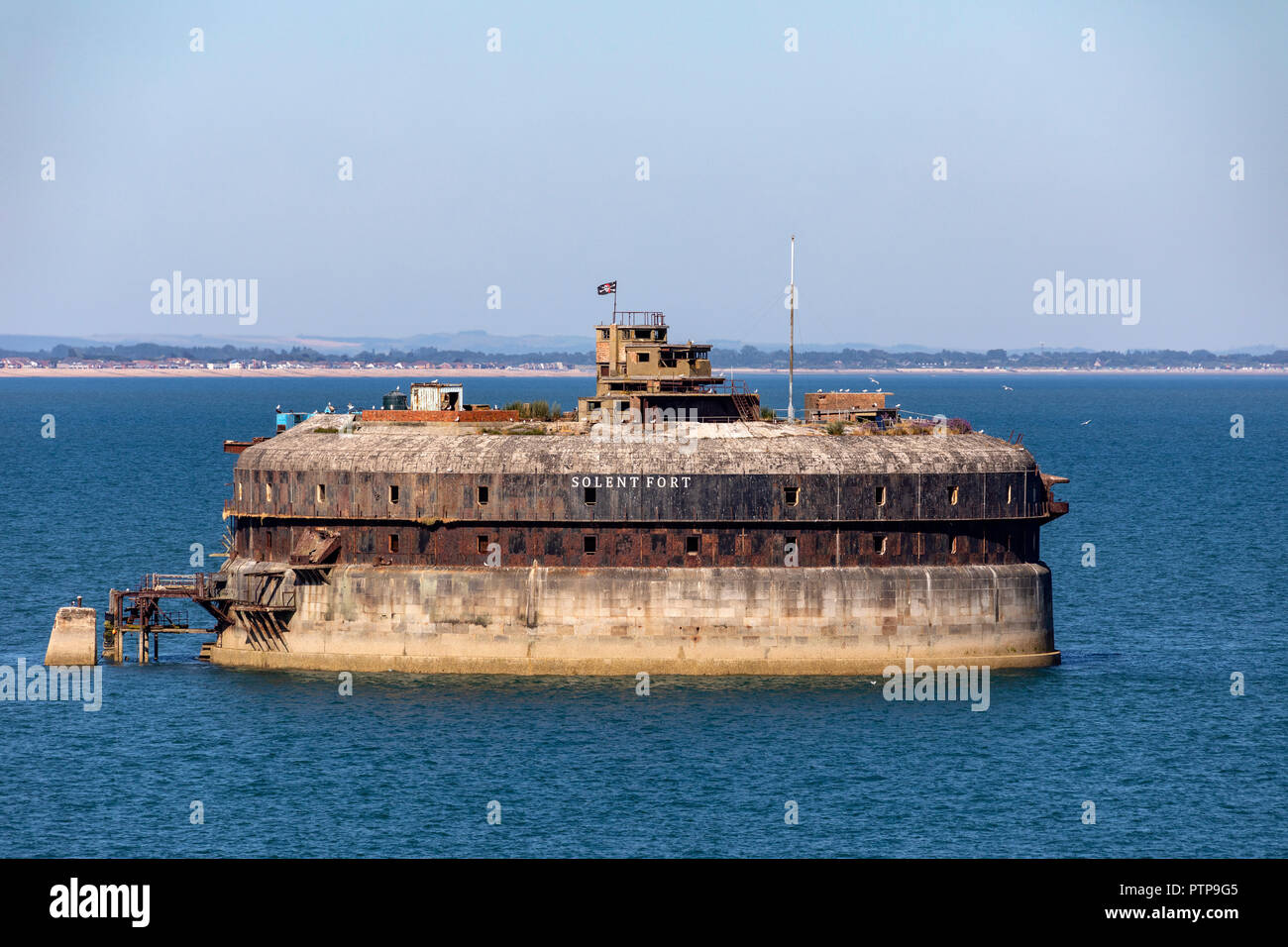 One of the Palmerston Forts in the Solent that encircle Portsmouth, England. Built in 1859 by Royal Commission against the threat of a French invasion - Stock Image