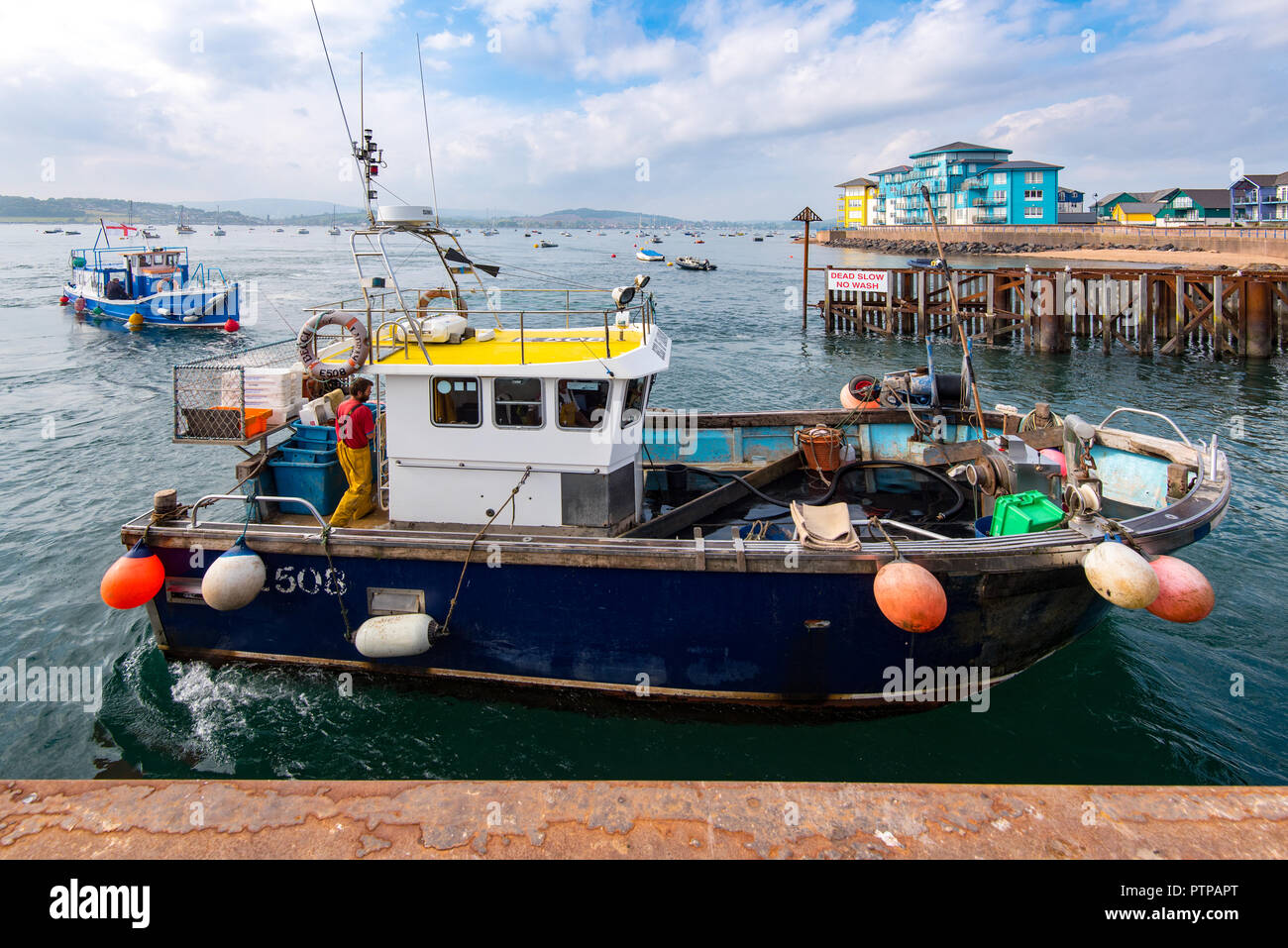 EXMOUTH, DEVON, UK - 05OCT2018:  Becci of Ladram is a purpose built inshore fishing boat operating out of Exmouth. - Stock Image