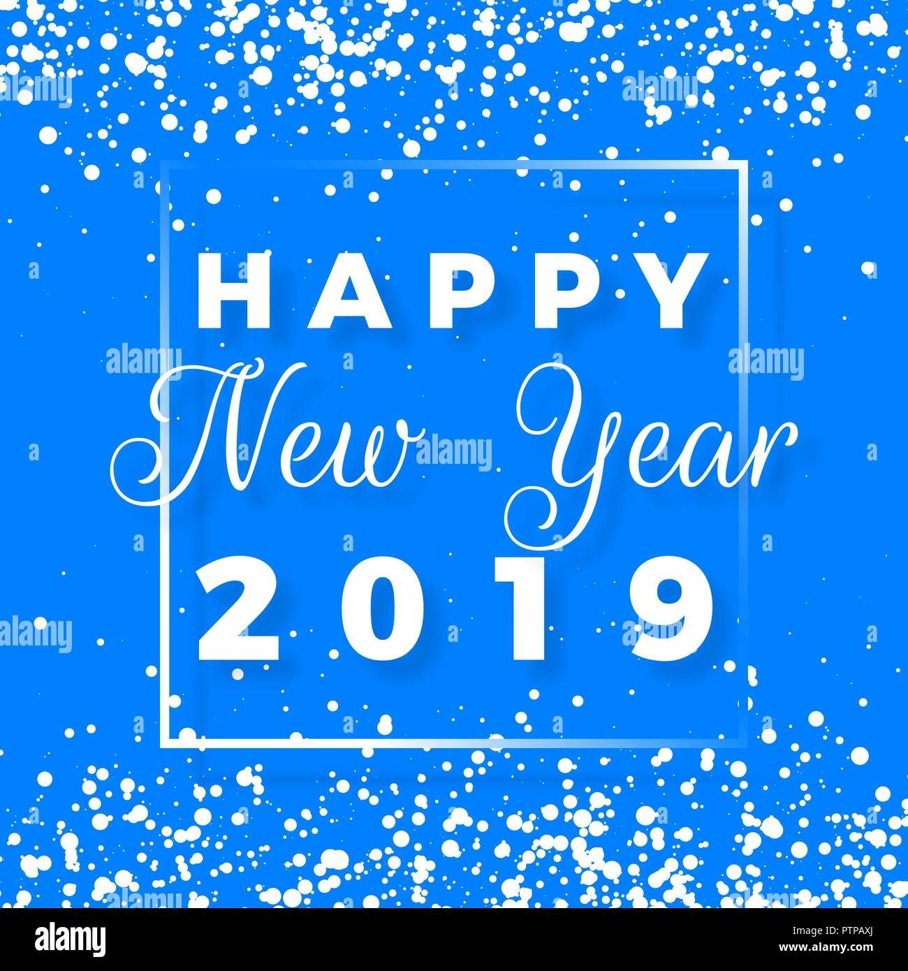 Happy new year postcard happy new year 2019 text design greeting happy new year postcard happy new year 2019 text design greeting card with white text in frame and snowflakes on blue background vector illustratio m4hsunfo