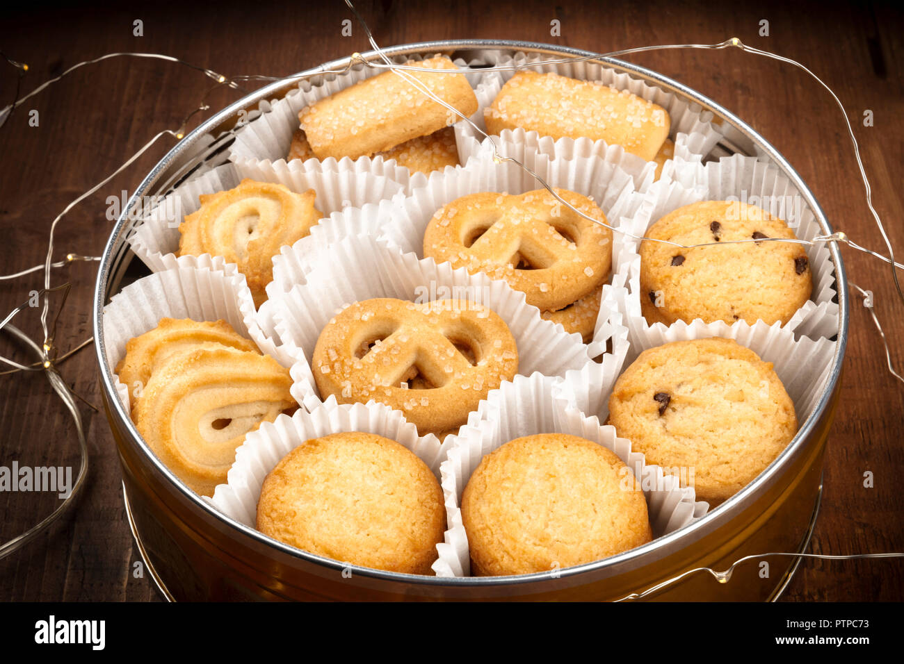 A Closeup Photo Of Danish Butter Cookies In The Traditional Tin Box