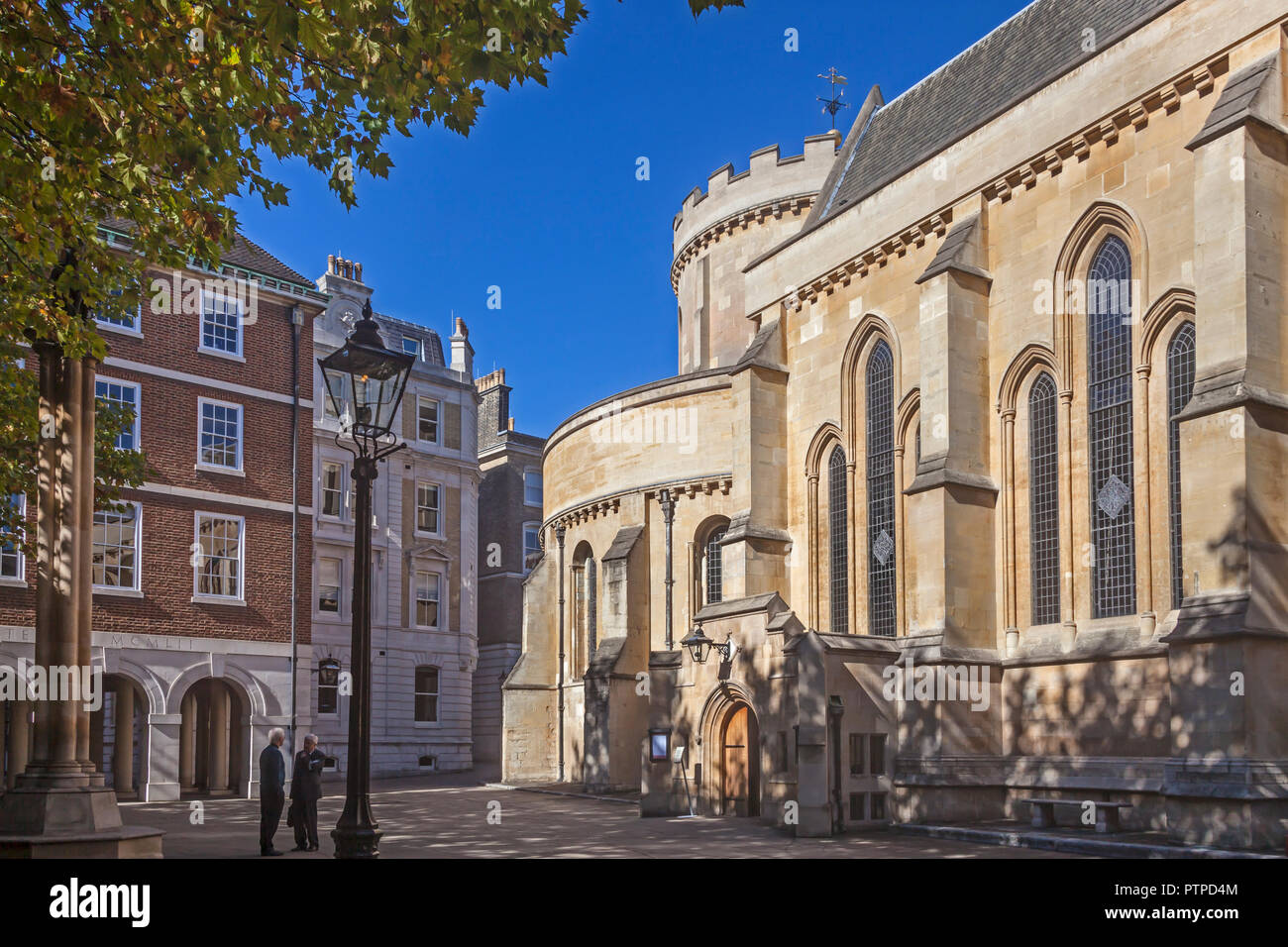 City of London   Temple Church and adjoining square at Inner Temple - Stock Image