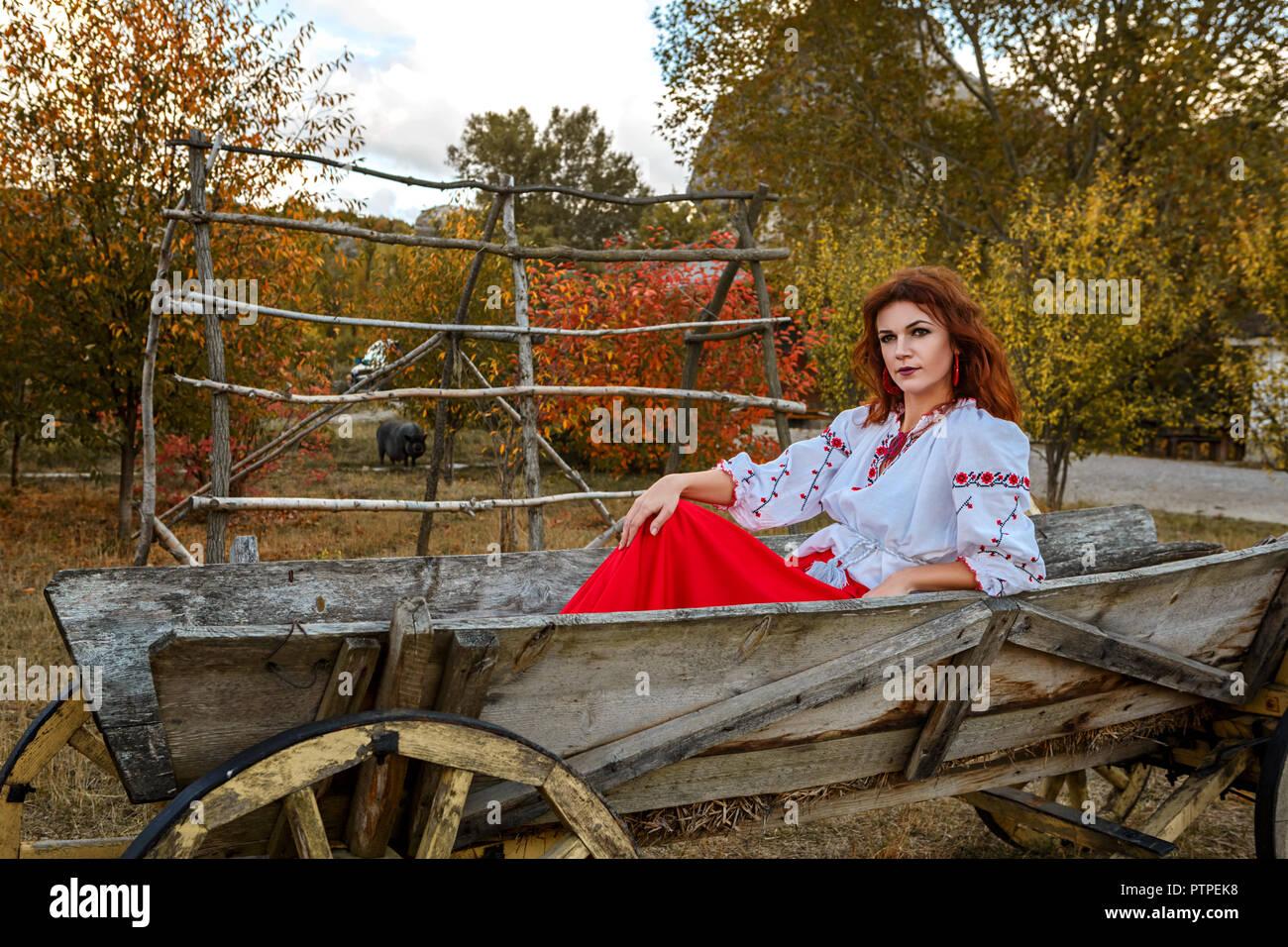 beautiful girl in the national Slavic costume. - Stock Image
