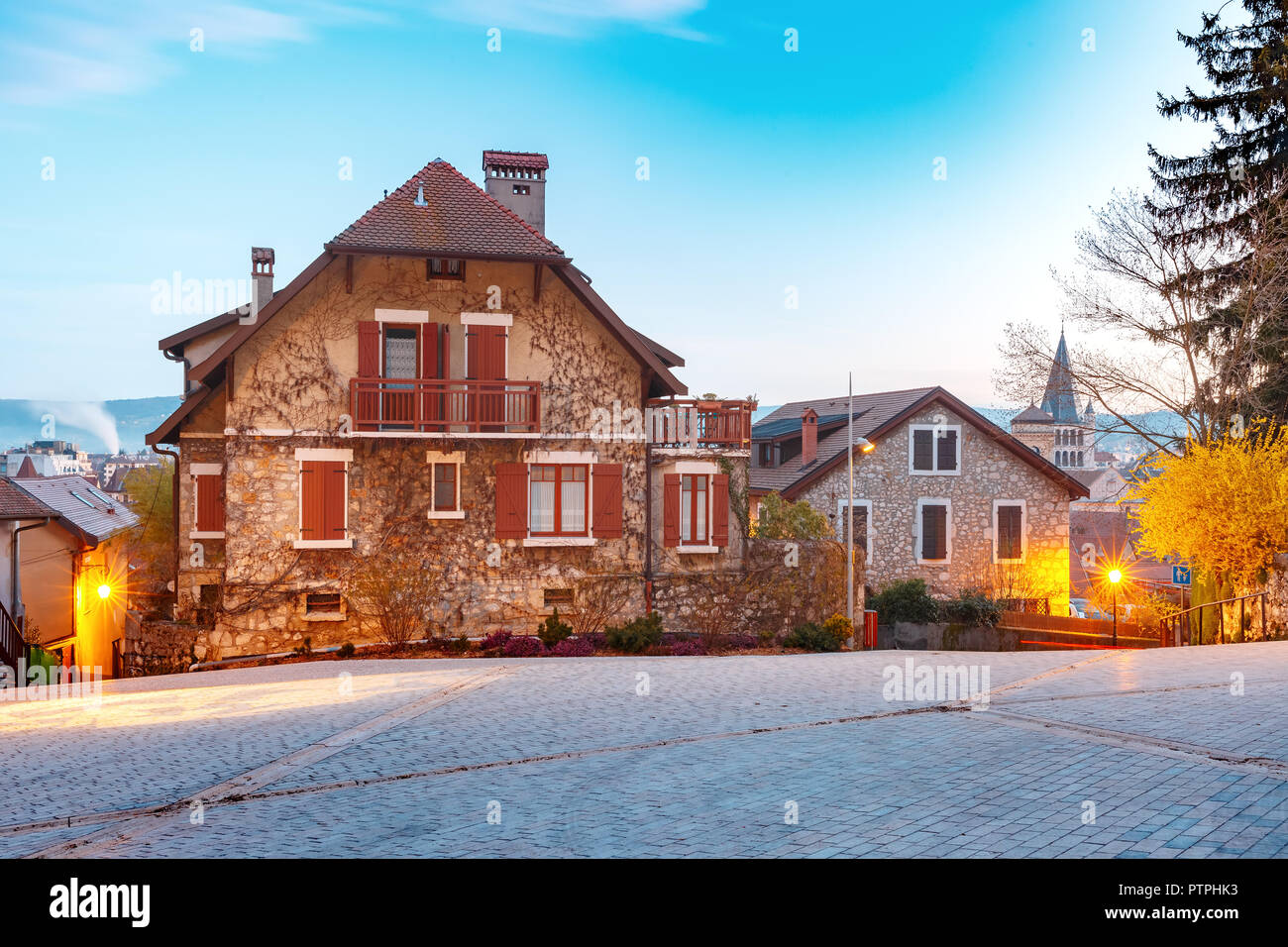 Cozy street in Old Town of Annecy, France Stock Photo