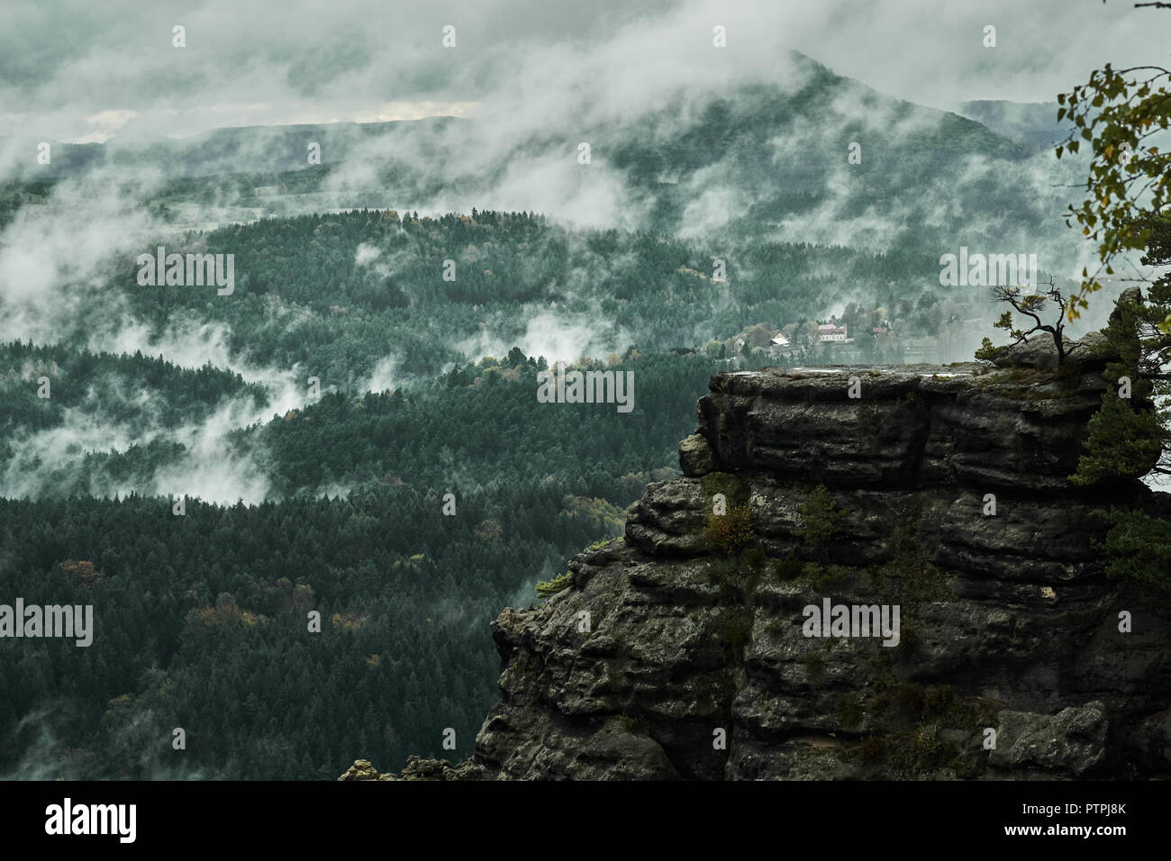 Deadpan dark misty rainy morning landscape with the sand rocky montains in Czech Saxon Switzerland in autumn colors. - Stock Image
