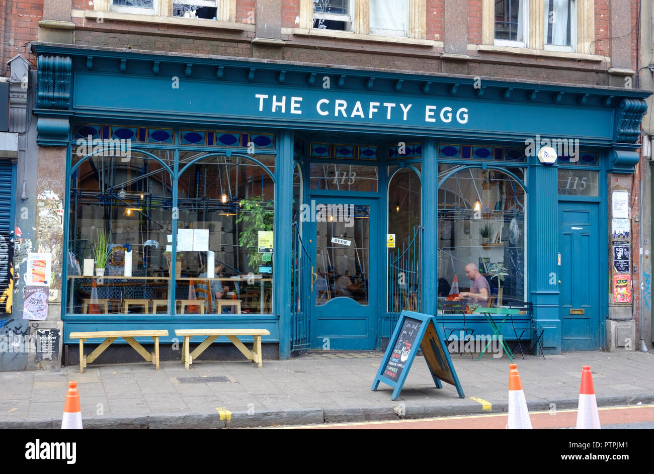 Around Stokes Croft, a Hip area of Bristol.Crafty egg cafe - Stock Image