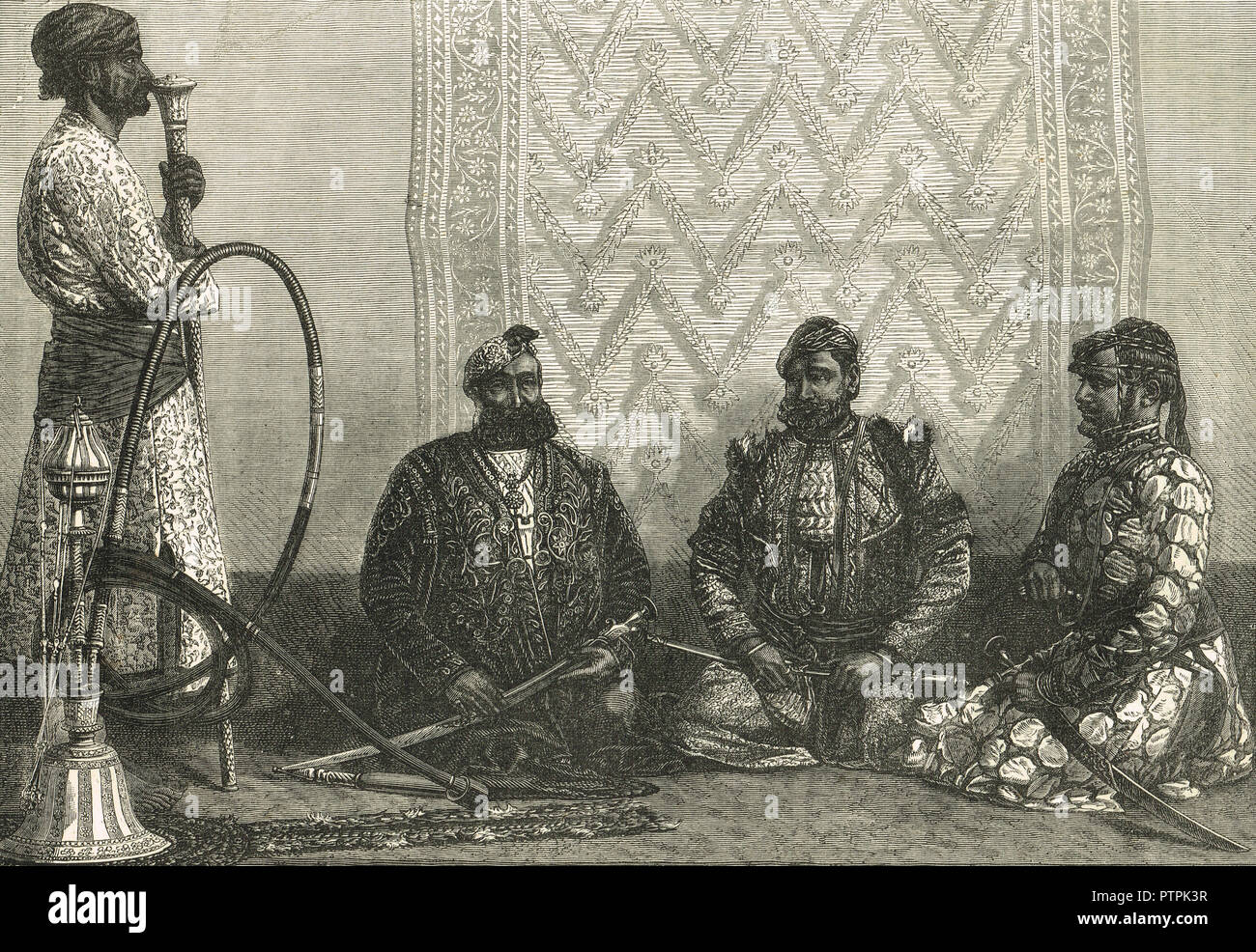 Zamindars and Rajas, of the Northern provinces of Hindustan, India in the 19th Century - Stock Image