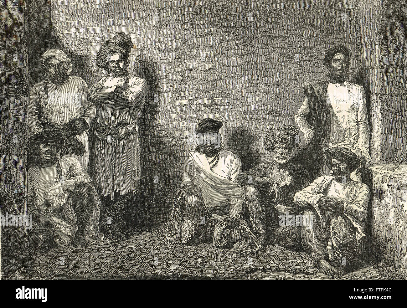 Thugs, Thuggee, tuggee in jail, Aurangabad, Maharashtra, India, circa 1830's. An organised gang of professional robbers and murderers, suppressed by the British rulers of India - Stock Image
