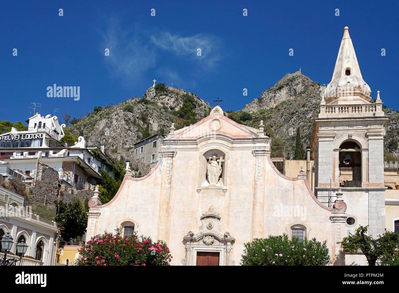 The church of San Giuseppe at Piazza IX. Aprile, old town of Taormina, Sicily, Italy - Stock Image