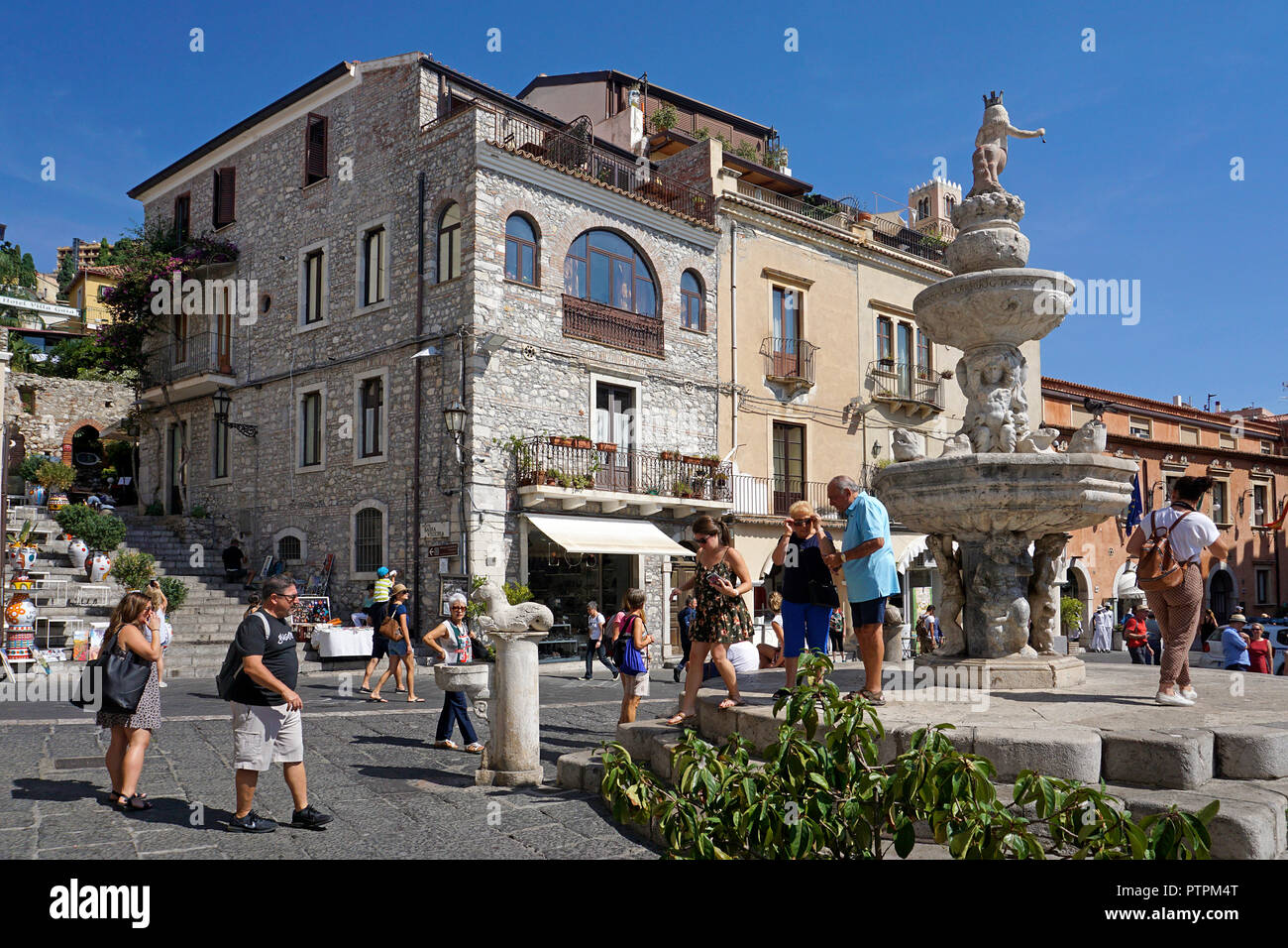 Baroque well at Piazza Duomo, old town of Taormina, Sicily, Italy Stock Photo