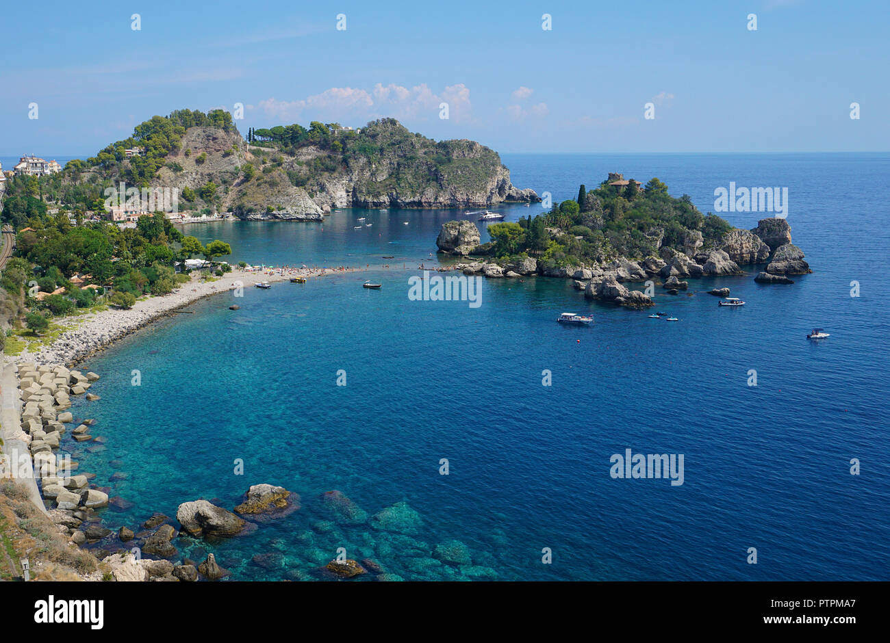 Isola Bella, beautiful tiny island and one of the landmarks of Taormina, Sicily, Italy - Stock Image