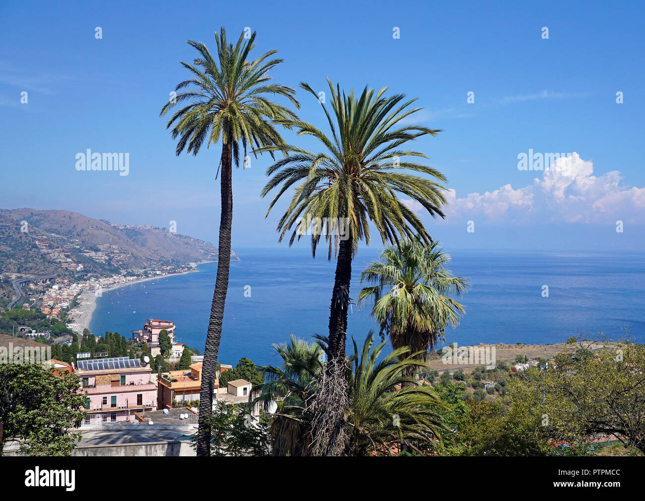 Splendid view from Taormina to the beach of Mazzeo, Sicily, Italy - Stock Image