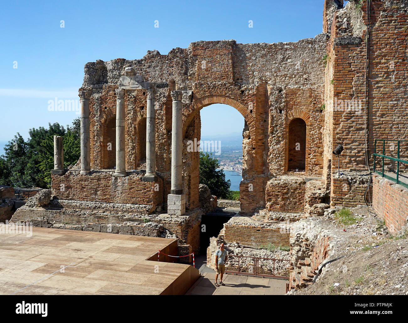 The ancient greek-roman theatre of Taormina, Sicily, Italy Stock Photo