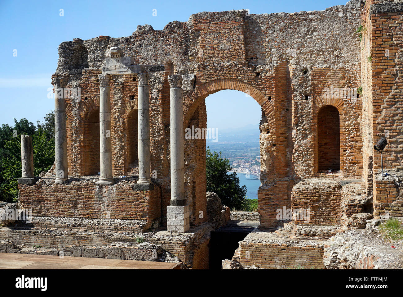 The ancient greek-roman theatre of Taormina, Sicily, Italy - Stock Image