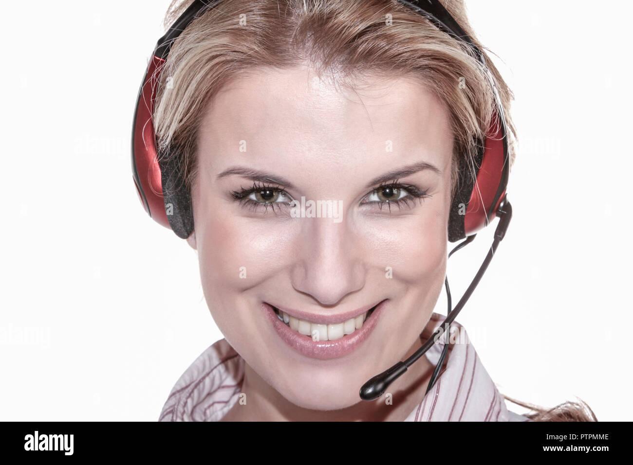 Attraktiv, beautiful, blond, business, Dienstleistungen, Erwachsen, Frau, Headphone, Headset, Kontaktperson, Kundenberatung, laechelnd, Mikrofon, oper - Stock Image