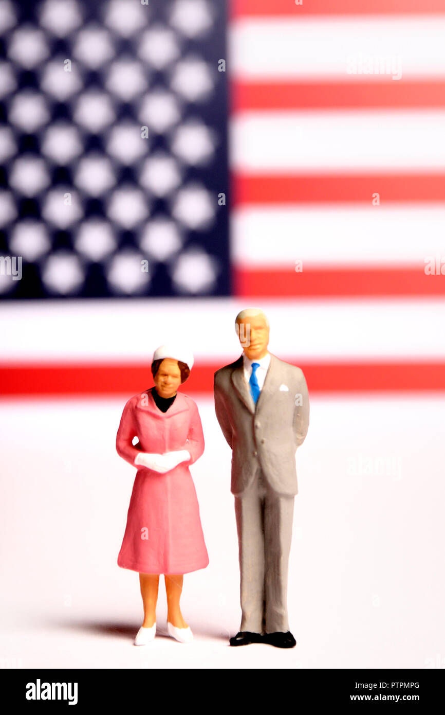 miniature figurines of USA President and first lady - Stock Image