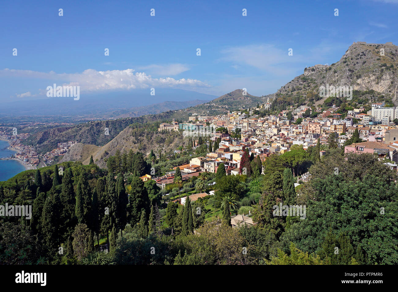 Splendid view from the ancient greek-roman theatre to Taormina, Sicily, Italy Stock Photo