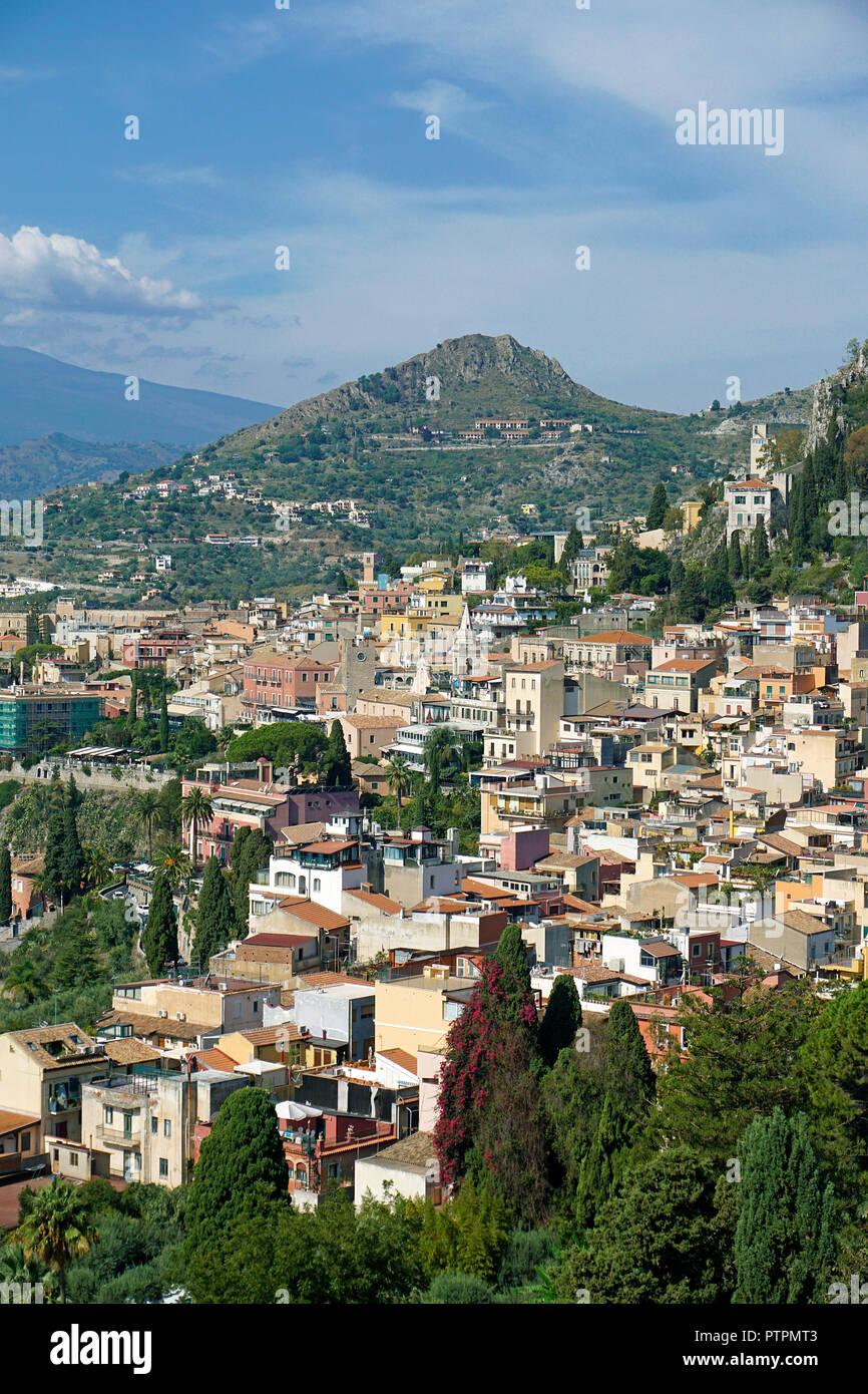 Splendid view from the ancient greek-roman theatre to Taormina, Sicily, Italy - Stock Image