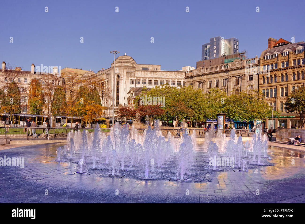 Fountains in Piccadilly Gardens, Manchester City Centre, Greater Manchester, England. UK. - Stock Image