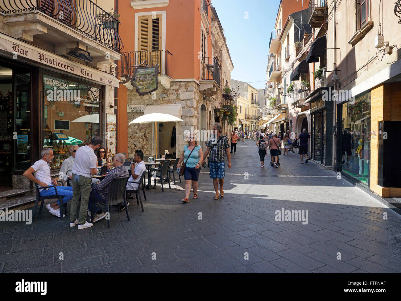 Corso Umberto I, main road and shopping mile of the old town of Taormina, Sicily, Italy Stock Photo