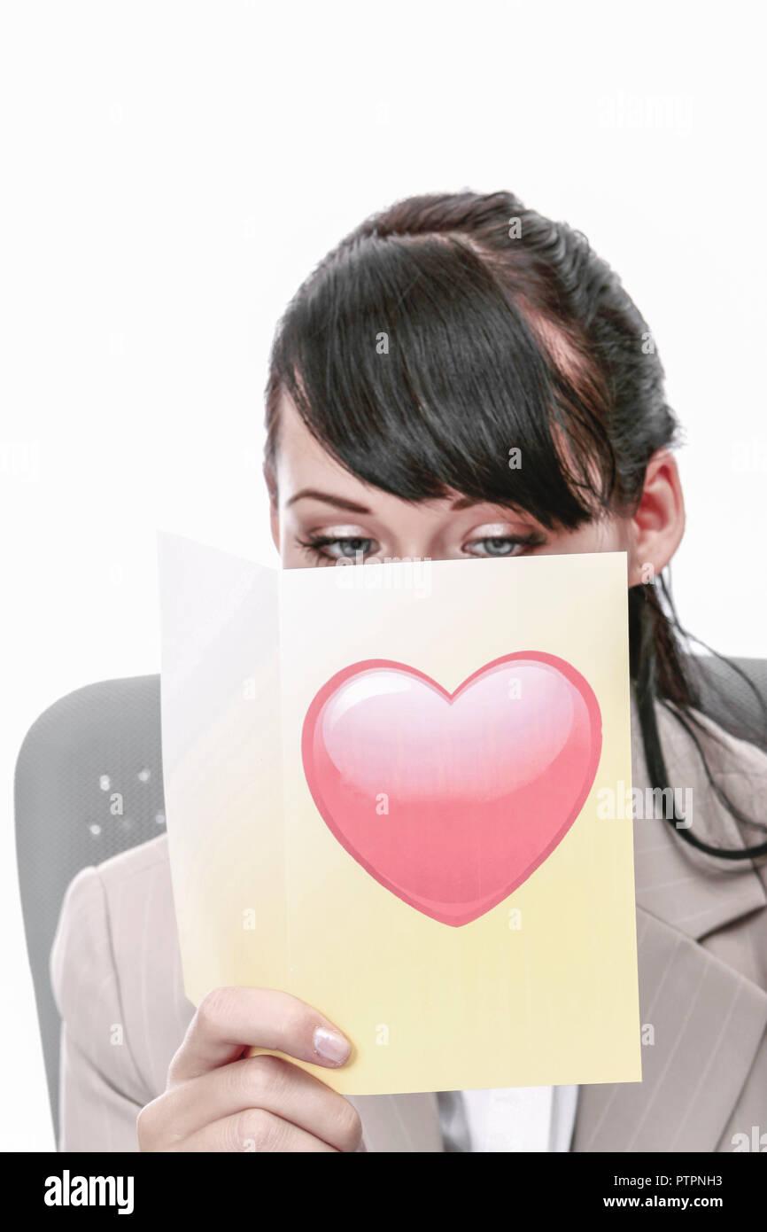 Frau, Freude, Freundlichkeit, Fruehlingsgefuehle, Gefuehle, Glueck, Herz, Karte, huebsch, jung, kuscheln, Schoenheit, sensible, Traeume, Valentinstag, - Stock Image