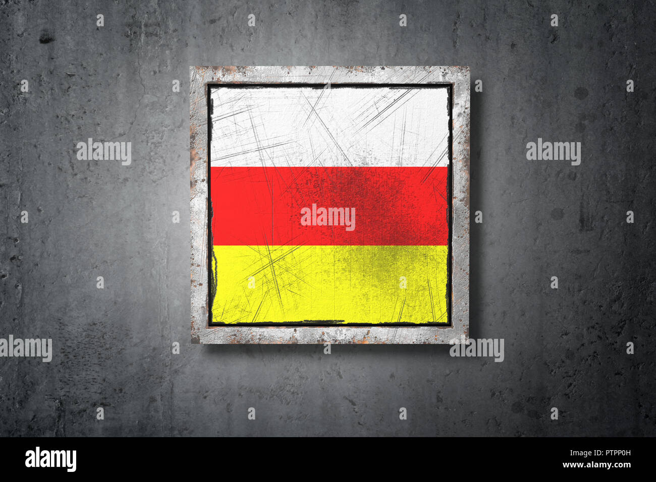3d rendering of a South Ossetia flag in a concrete wall - Stock Image