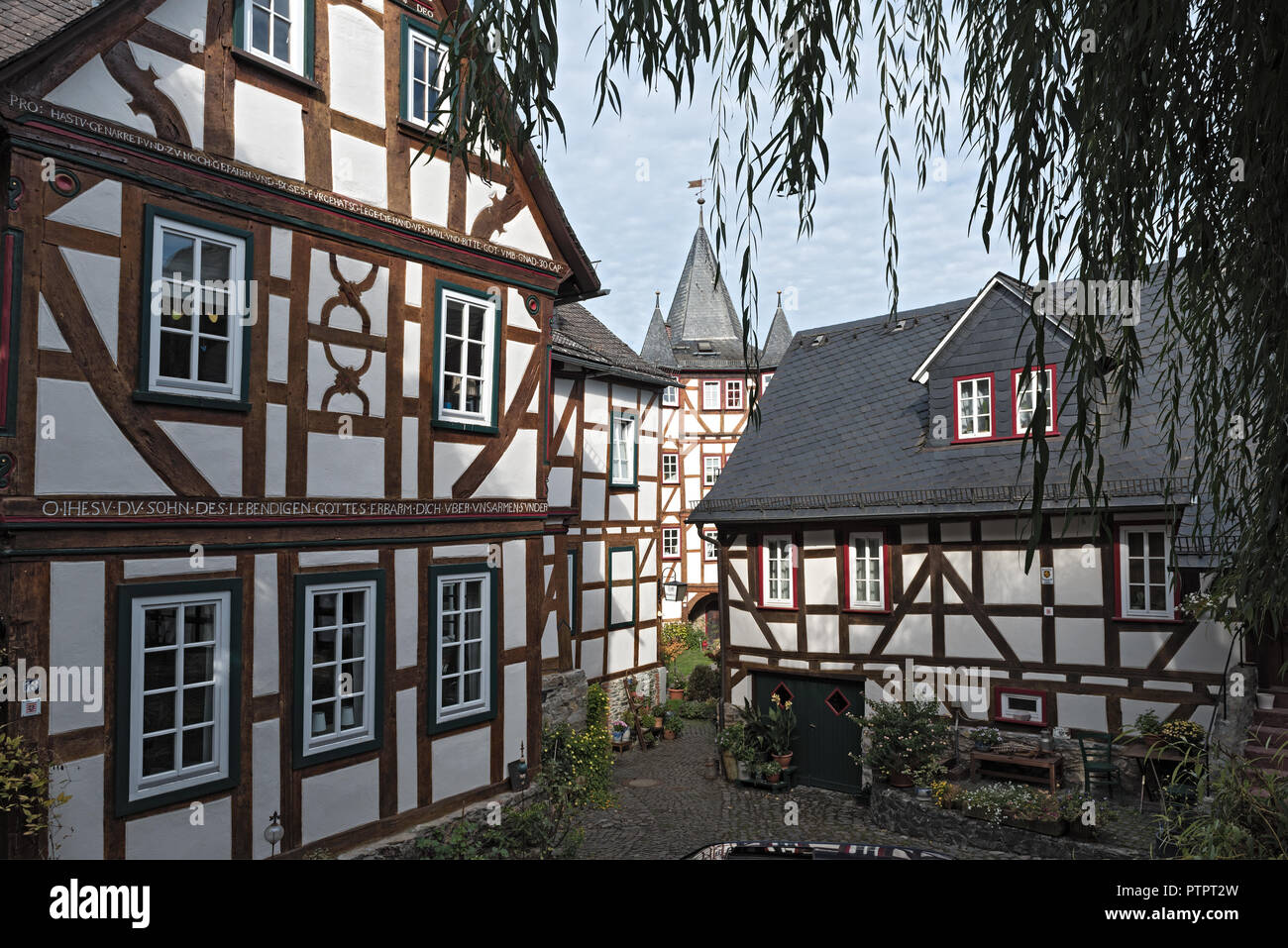 historic half-timbered houses in the old town of braunfels, hesse, germany. - Stock Image