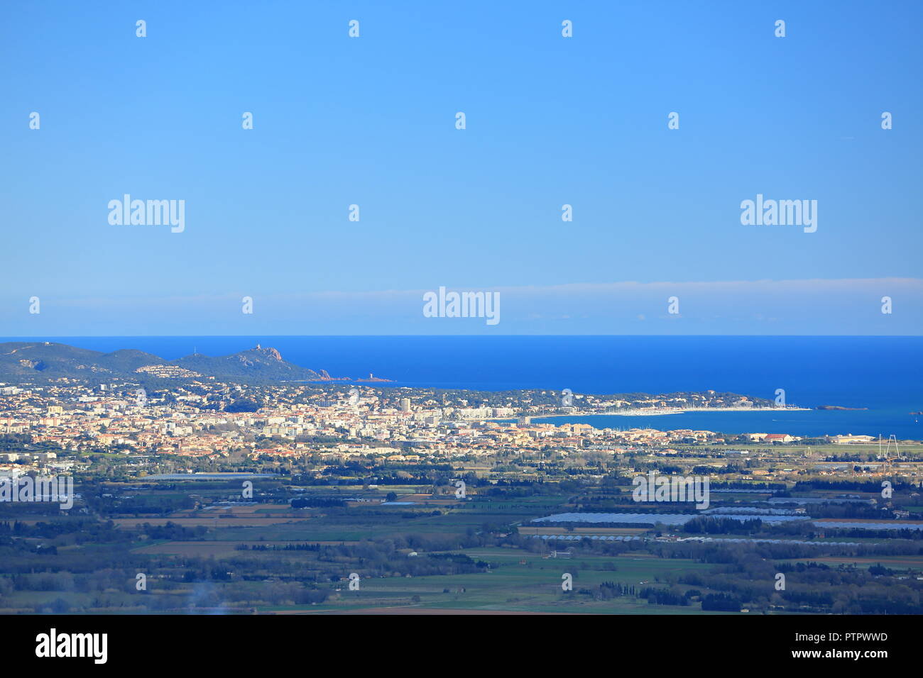 Top view above Saint Raphael, Var, 83, PACA, France Stock Photo