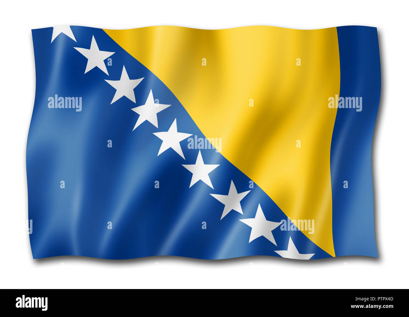 Bosnia and Herzegovina flag, three dimensional render, isolated on white - Stock Image