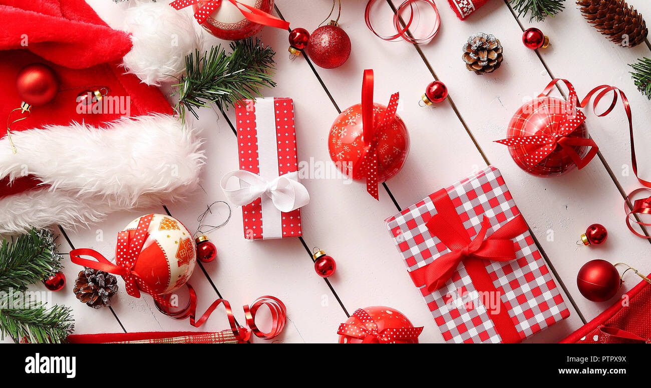 Christmas decorations near presents Stock Photo