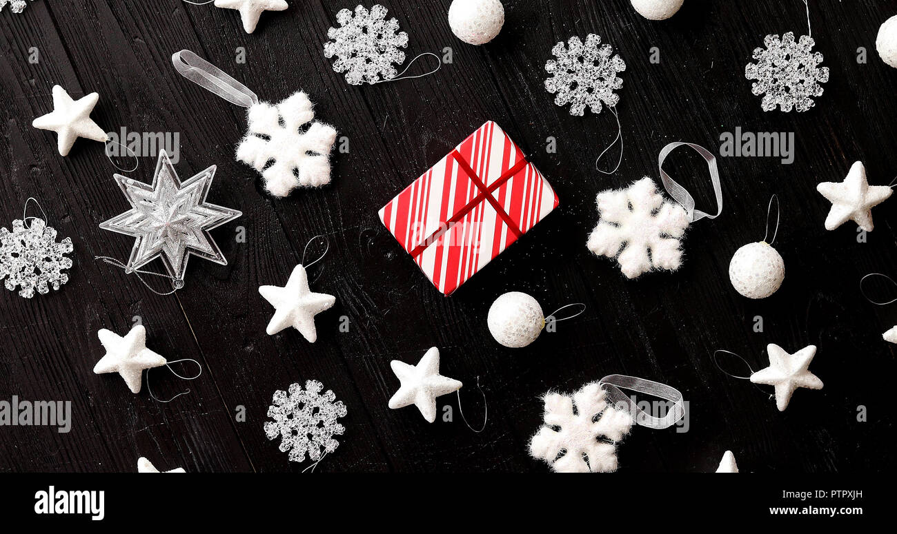 Christmas decorations laid in order - Stock Image