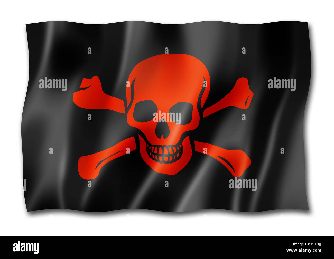 Pirate flag, Jolly Roger, three dimensional render, isolated on white - Stock Image