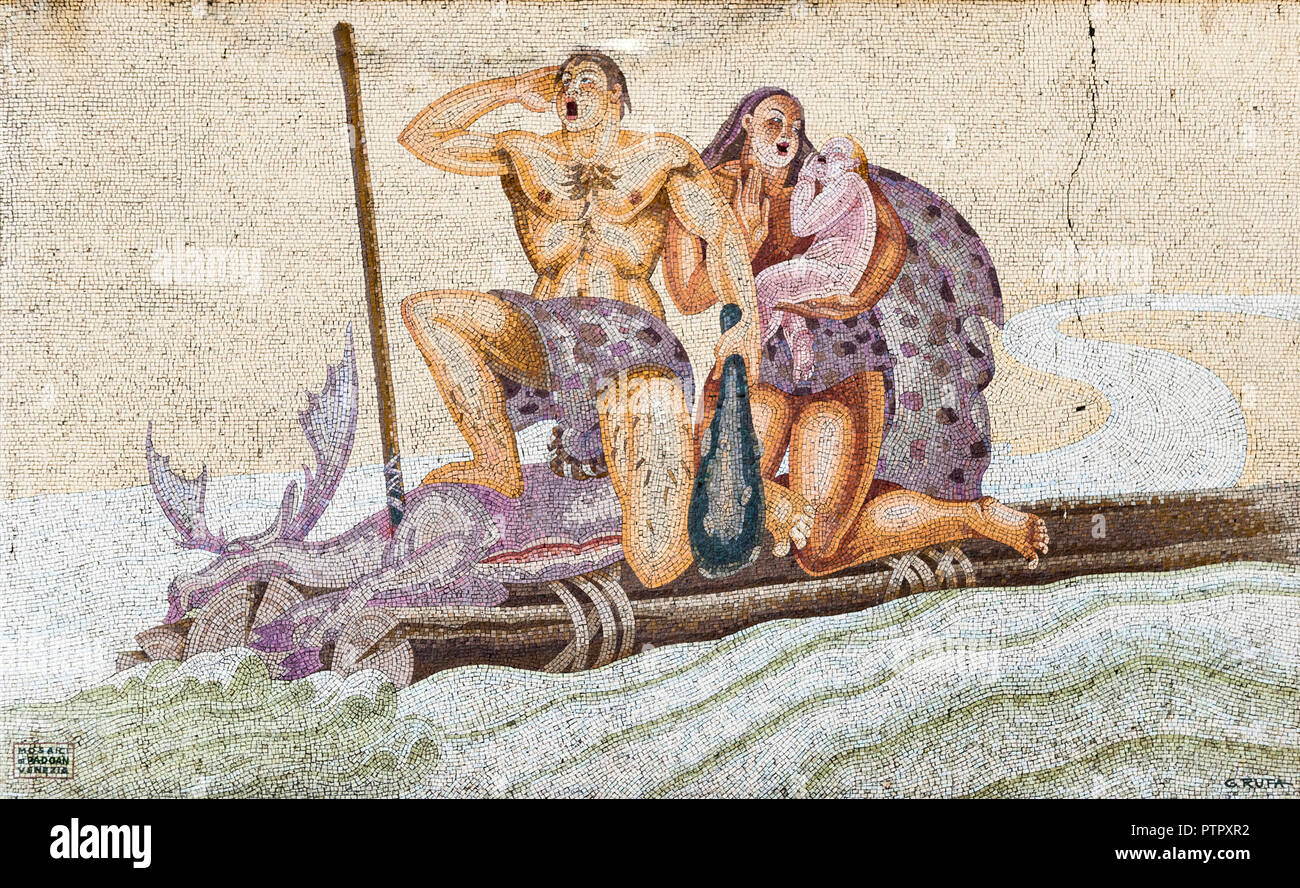 Milan, Italy. An Art Deco mosaic by G. Rufa depicting a prehistoric family, in the Central Railway Station (Milano Centrale) - Stock Image