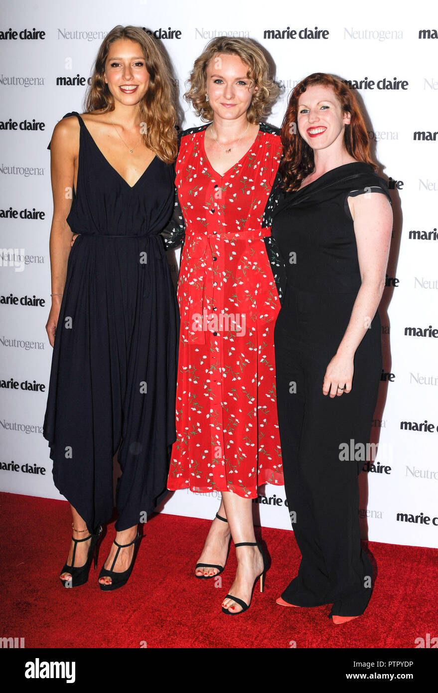 Photo Must Be Credited ©Alpha Press 080011 09/10/2018 Amandine Flachs, Catherine Allen and Verity McIntosh at the Marie Claire Future Shapers Awards 2018 held at Principal London in Russell Square, London. - Stock Image