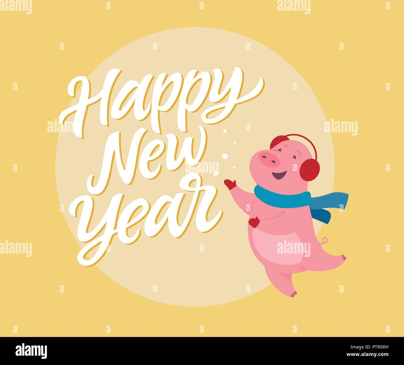 happy new year modern cartoon character illustration on yellow background with calligraphy tex high quality image of a cute jumping pig in ear warm