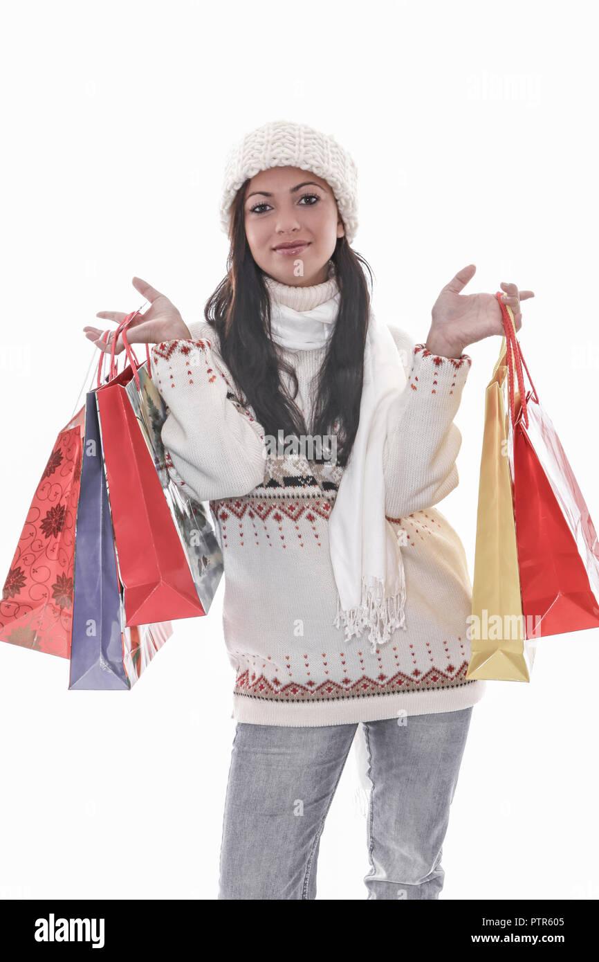 frau, jung, junge, weiblich, schoen, menschen, froehlich, einkaufen, kaufen, geschenk, konsum, freude, vergnuegen, sinnlichkeit, eine person, geld, we - Stock Image