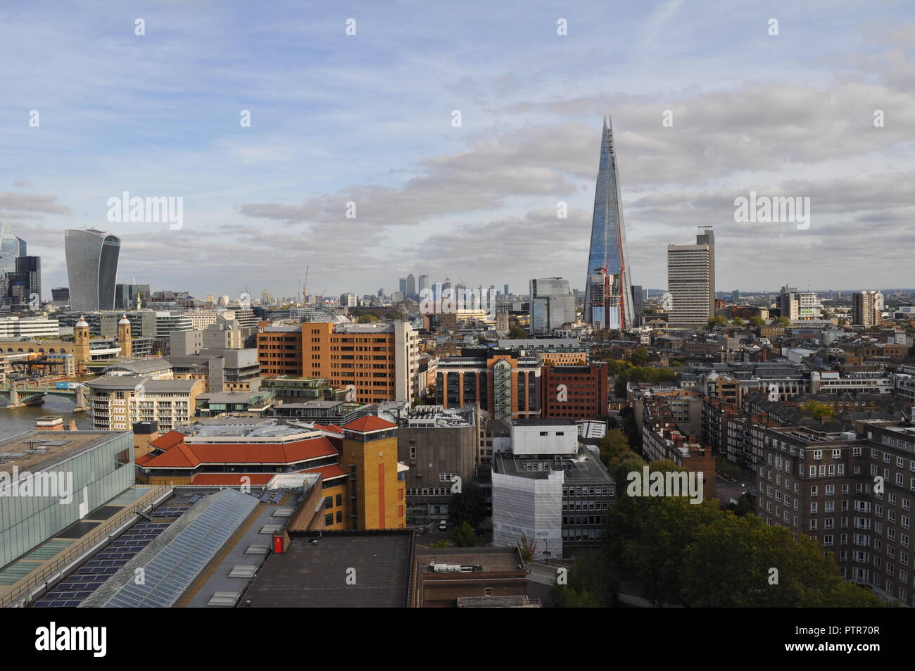 View of London Skyline, from Bankside, looking East toward the Shard, and offices, - Stock Image
